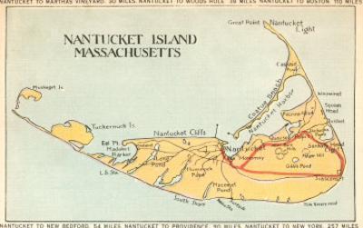 Map of Nantucket Island, Massachusetts