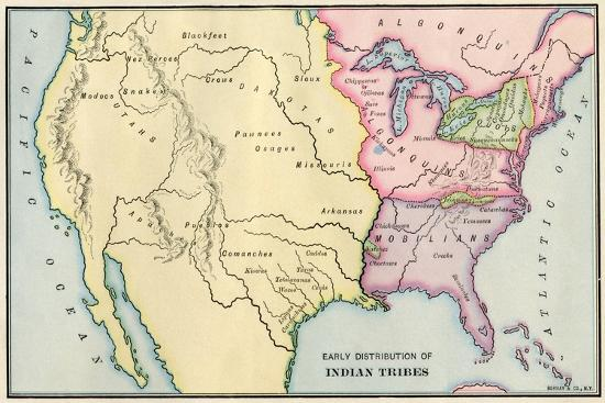 Map of Native American Locations, circa 1700--Giclee Print