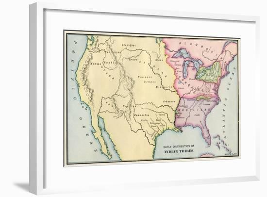 Map of Native American Locations, circa 1700--Framed Giclee Print