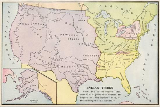 Map of Native American Tribe Locations Circa 1715, Continental U.S Giclee  Print by   Art.com