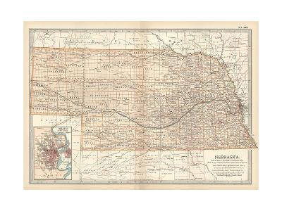 Map of Nebraska. United States. Inset Map of Omaha and Vicinity-Encyclopaedia Britannica-Giclee Print