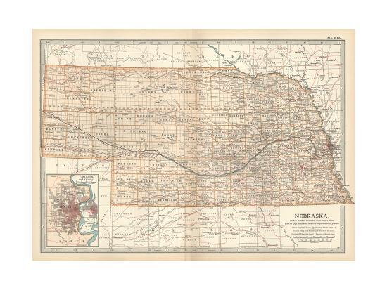 Map of Neska. United States. Inset Map of Omaha and Vicinity Giclee Where Is Omaha Neska On The Us Map on
