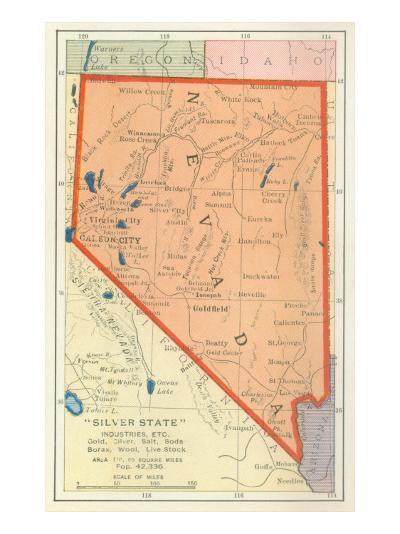 Map of Nevada--Art Print