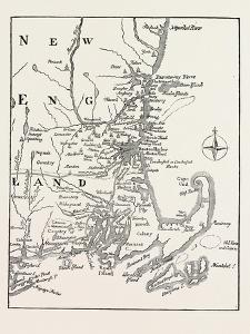 Map of New England at the Beginning of the Eighteenth Century from Mather's Magnalia, USA, 1870S