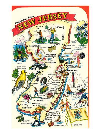 Map of New Jersey with Attractions--Art Print