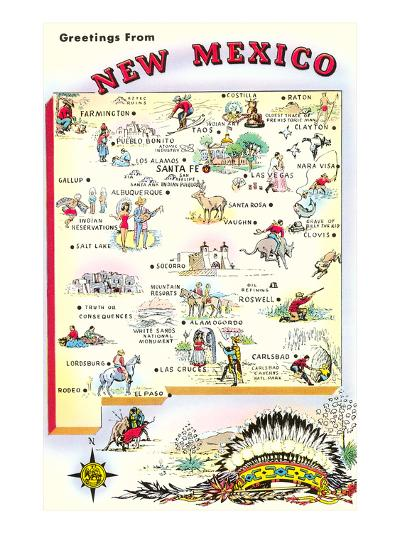 Map of New Mexico--Art Print