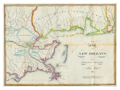 picture about Printable Maps of New Orleans called Map of Contemporary Orleans and Adjacent Nation, c.1815 Artwork Print as a result of John Melish