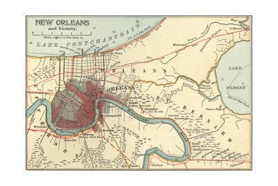 picture about Printable Maps of New Orleans named Map of Fresh new Orleans (C. 1900), Maps Giclee Print as a result of Encyclopaedia Britannica