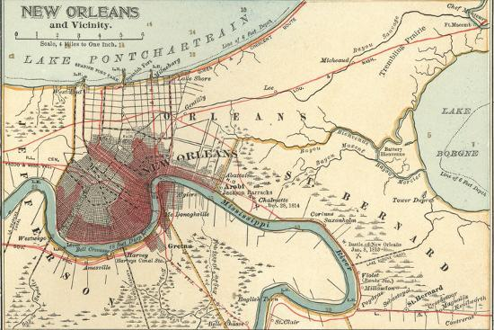 Map of New Orleans (C. 1900), Maps Giclee Print by Encyclopaedia Britannica  | Art.com