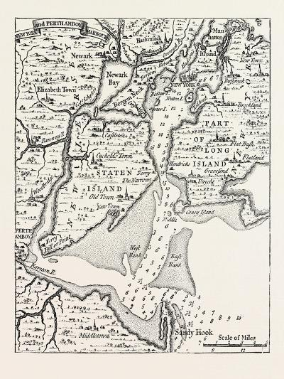 Map of New York About the Middle of the Eighteenth Century, from Popple's Atlas, USA, 1870S--Giclee Print