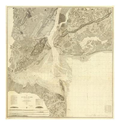 Map of New York Bay and Harbor and The Environs, c.1844--Art Print