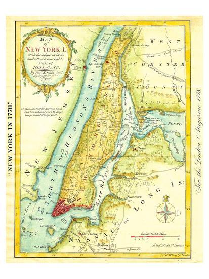 Map of New York City 1869 Art Print by Kitchen - Shannon   Art.com