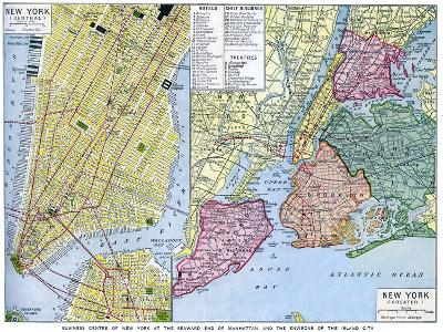 Map of New York City, USA, C1930S--Giclee Print