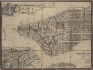 Map of New York City with the adjacent cities of Brooklyn, Jersey City and Williamsburg, 1852
