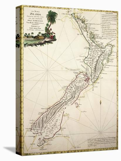 Map of New Zealand by Antonio Zatta According to Discoveries of James Cook, Venice 1778--Stretched Canvas Print