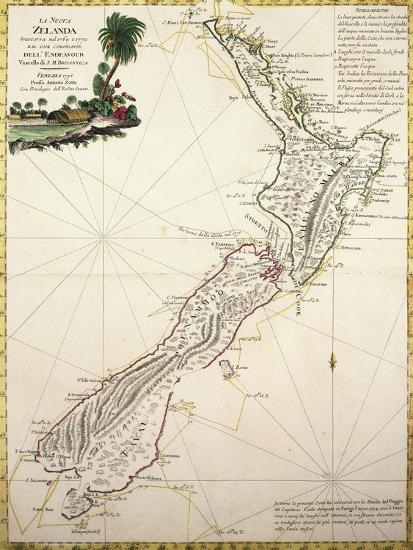 Map of New Zealand by Antonio Zatta According to Discoveries of James Cook, Venice 1778--Giclee Print