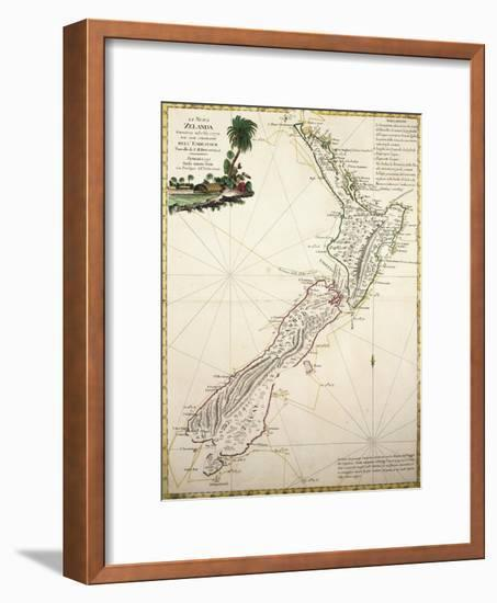 Map of New Zealand by Antonio Zatta According to Discoveries of James Cook, Venice 1778--Framed Giclee Print