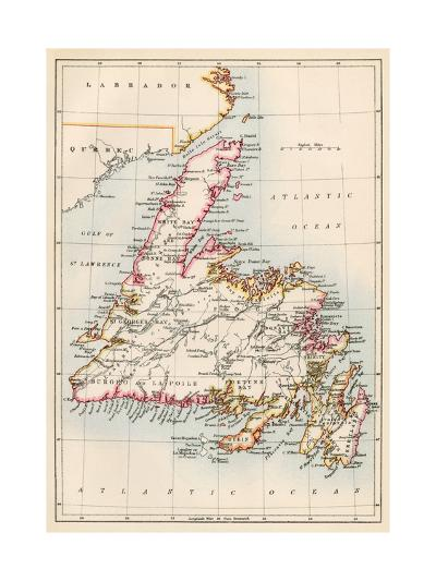 Map of Newfoundland, Canada, 1870s--Giclee Print