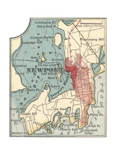 Map of Newport (C. 1900), Maps-Encyclopaedia Britannica-Giclee Print