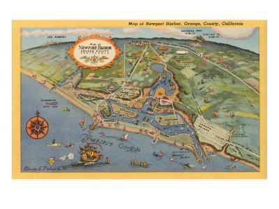 Map of Newport Harbor--Art Print