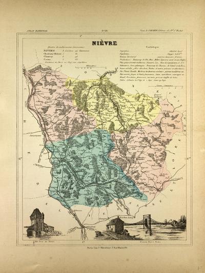 Map of Nièvre France--Giclee Print