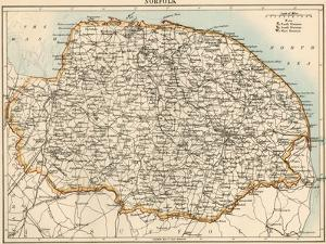 Map of Norfolk, England, 1870s
