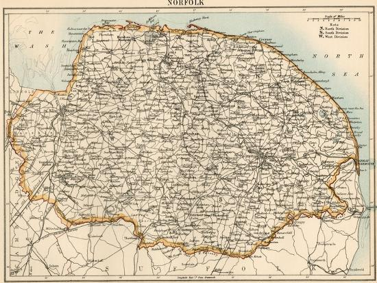 Map Of England Norfolk.Map Of Norfolk England 1870s Giclee Print By Art Com