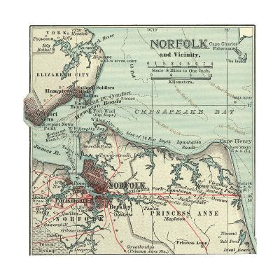 Map of Norfolk-Encyclopaedia Britannica-Giclee Print