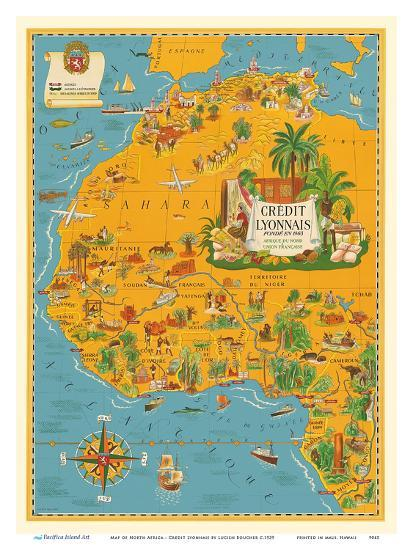 Map of North Africa - French Union - Credit Lyonnais Art Print by Lucien  Boucher | Art.com
