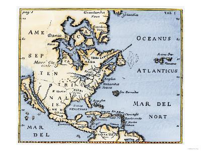 Map of North America, 17th Century--Giclee Print