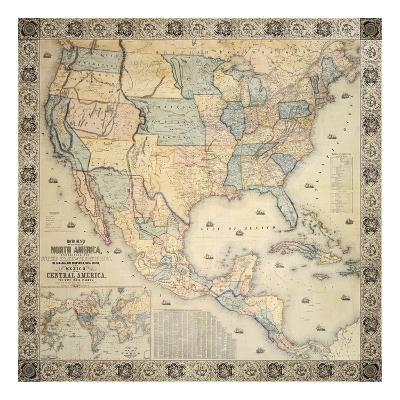 Map Of North America, 1853-Jacob Monk-Premium Giclee Print