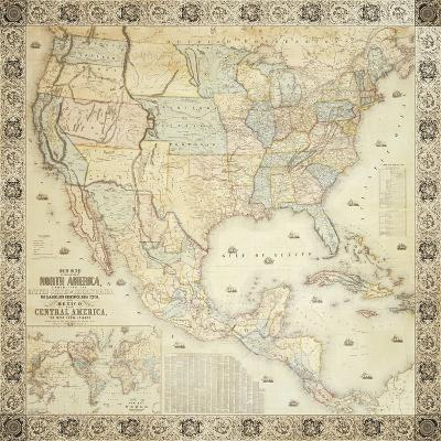 Map Of North America, 1853-Jacob Monk-Giclee Print