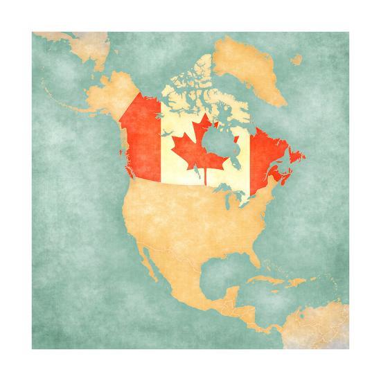 Map Of North America - Canada (Vintage Series) Art Print by Tindo   Art.com