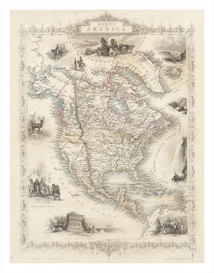 Map of North America - Central America from Greenland to Panama Giclee  Print by J. Rapkin   Art.com