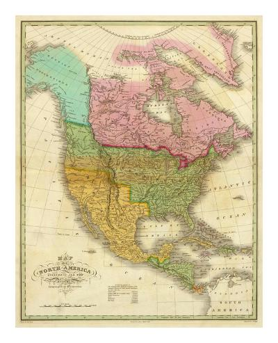 Map of North America Including All the Recent Geographical Discoveries, c.1826-Anthony Finley-Art Print