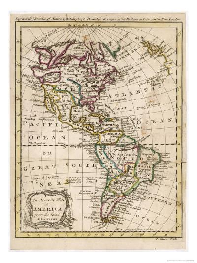 Map of North and South America-J^ Gibson-Giclee Print