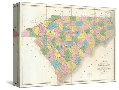 image relating to Printable Maps of South Carolina identified as Map of North and South Carolina, c.1839 Stretched Canvas Print as a result of David H. Burr