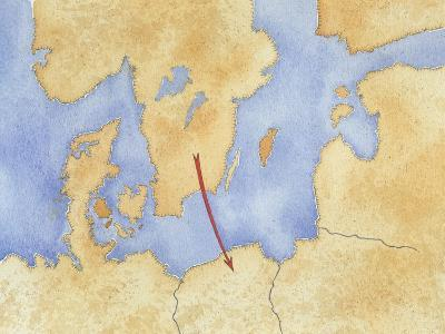 Map of Northern Europe and Goth Migration--Giclee Print