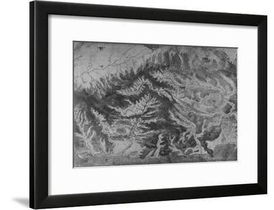 'Map of Northern Italy, Showing the Watershed of the Arno', c1480 (1945)-Leonardo da Vinci-Framed Giclee Print