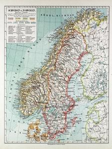 Map of Norway and Sweden 1899