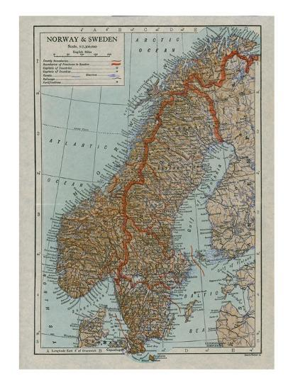 Map of Norway and Sweden, c19th century-Unknown-Giclee Print