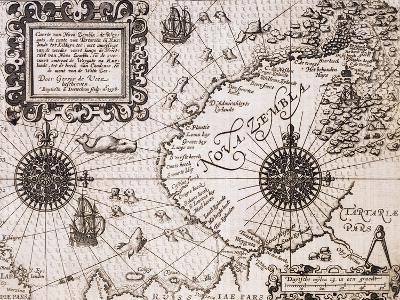 Map of Nova Zembla from Diarium Nauticum, seu vera descriptio trium navigationum admirandarum-Gerrit de Veer-Giclee Print