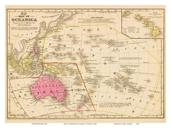 Young Australia Map.Map Of Oceanica Australia Hawaii Pacific Islands Art Print By James H Young Art Com