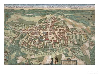 Map of Odense, from Civitates Orbis Terrarum by Georg Braun-Joris Hoefnagel-Giclee Print