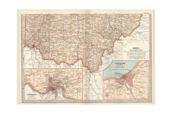 Us Map Cincinnati.Map Of Ohio Southern Part United States Inset Maps Of Cincinnati