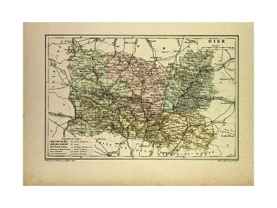 Map of Oise France--Giclee Print
