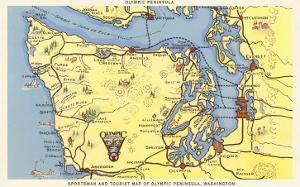 Map of Olympic Peninsula, Washington