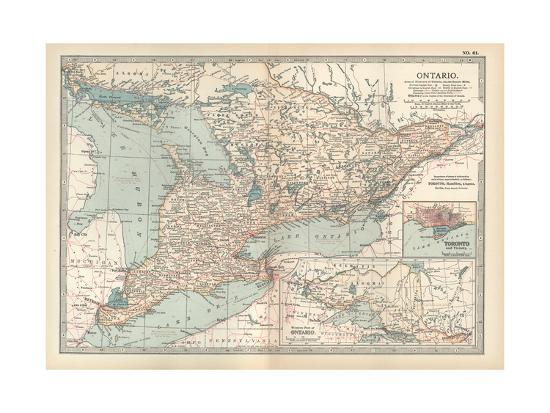 Map of Ontario, Canada. Insets of Toronto and Western Part of Ontario-Encyclopaedia Britannica-Giclee Print