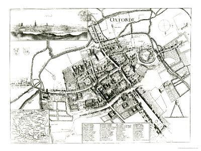 Map of Oxford, 1643-Wenceslaus Hollar-Giclee Print