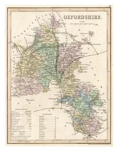 Map of Oxfordshire--Giclee Print